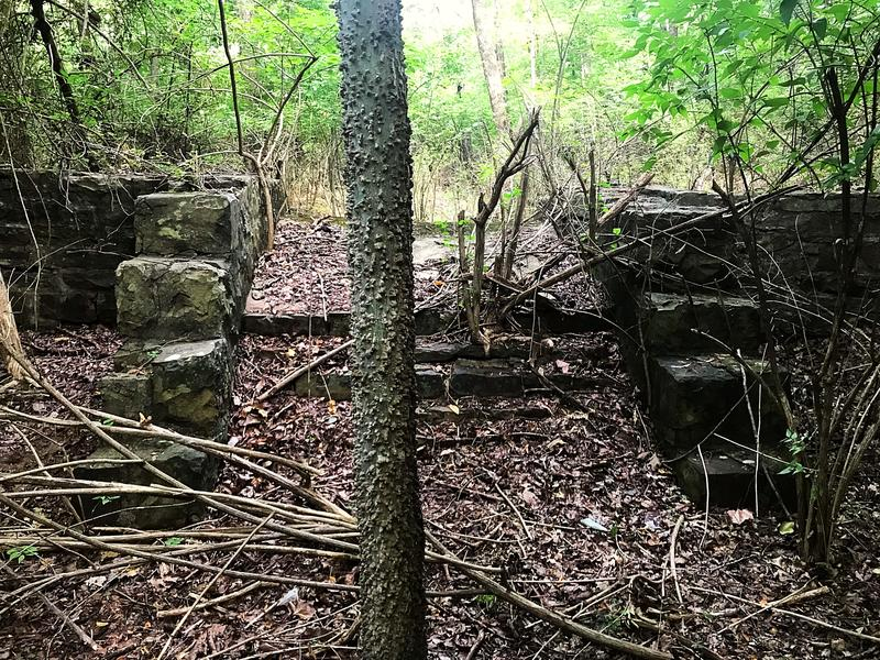 An unidentified foundation in Markham Hill woods.