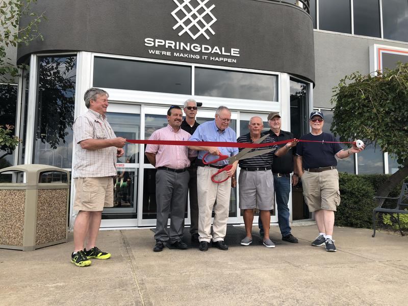 Officials marked the reopening of the Springdale Municipal Airport Oct. 2 with a ribbon cutting ceremony. The airport was closed for two weeks while the runway was resurfaced.