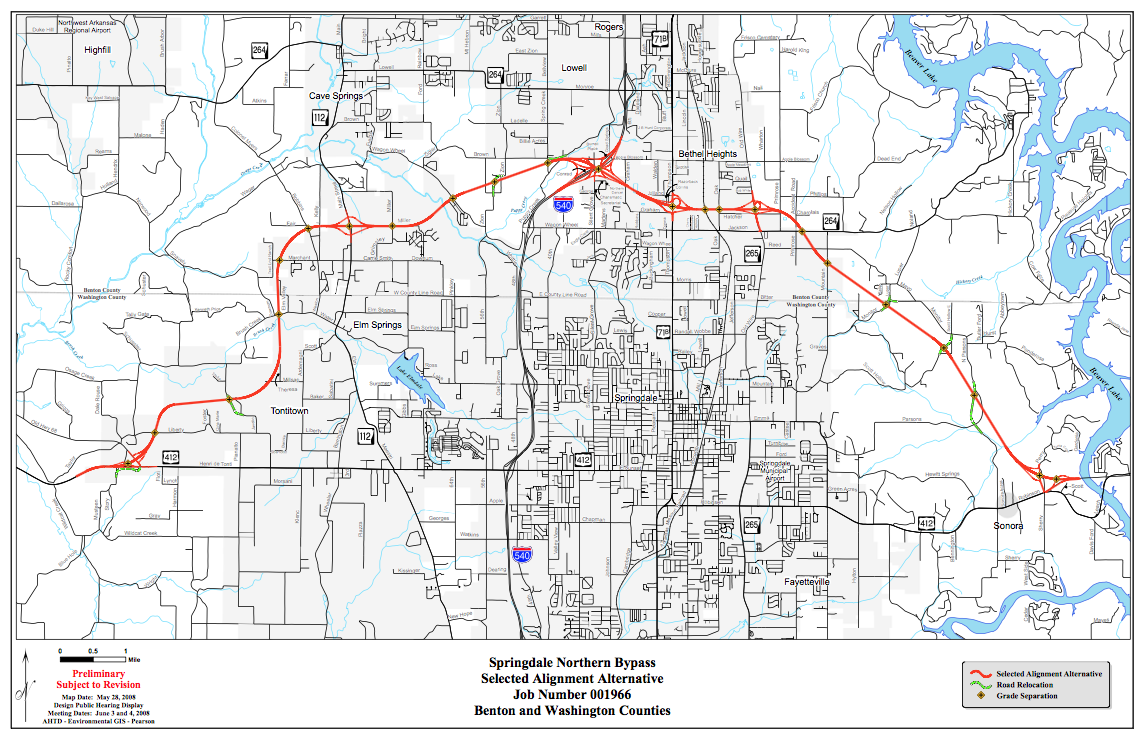 Tontitown Arkansas Map.Ardot Cuts Ribbon On First Portion Of Springdale Northern Bypass Kuaf