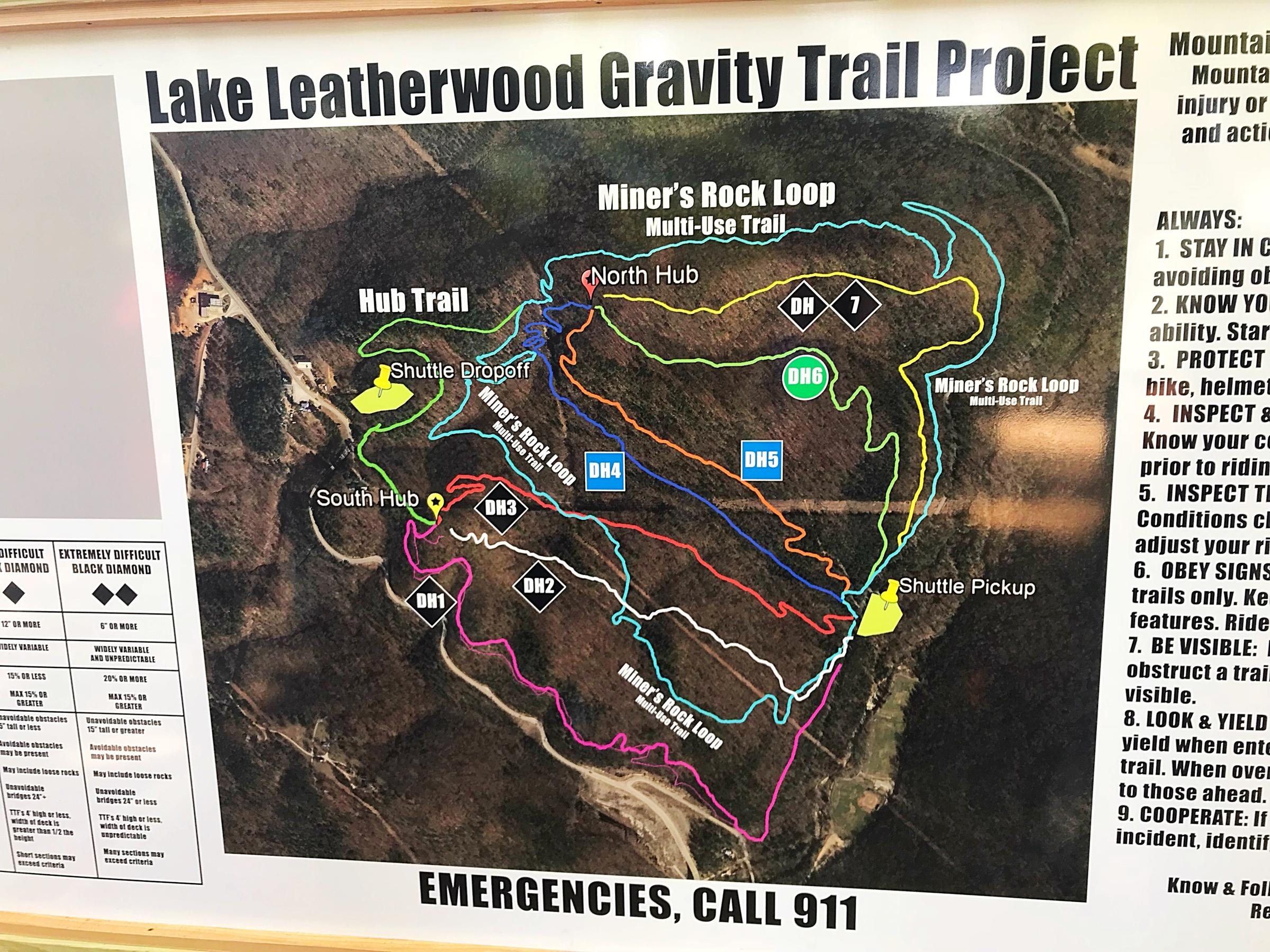 A Map Of The New Downhill Mountain Bike Park At Lake Leatherwood