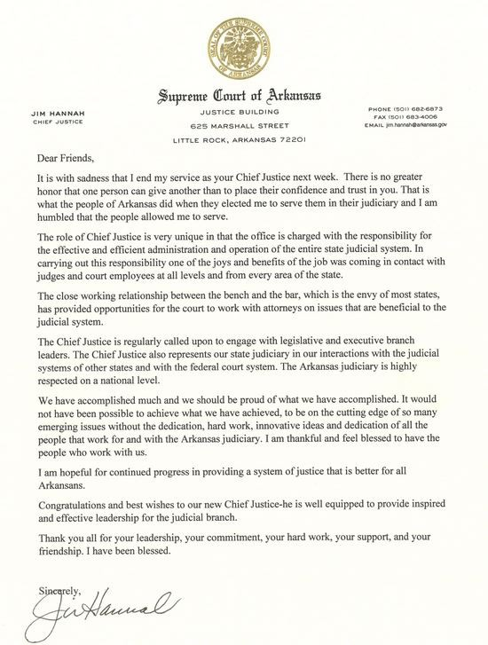 Chief Justice Jim Hannah Issues Farewell Letter On Last Day In