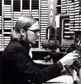 Clyde Clifford on the air at KAAY in the 1960s.