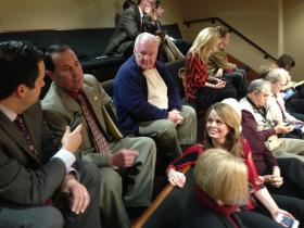 Spectators in the Arkansas Senate gallery react to the vote Thursday to override the governor's veto.