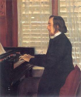 Santiago Rusinol's portrait of Eric Satie at the harmonium