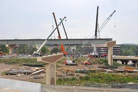 Construction progressing on the interchange of Interstates 430 and 630.
