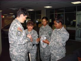 Military women talk.