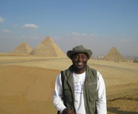 Malcolm and the pyramids at Giza.