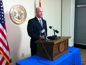Arkansas Attorney General Dustin McDaniel speaking to reporters Wednesday.