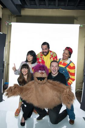 Leah Monzillo and Ethan Paulini (in black) as Trekkie Monster, with (left to right) Kathleen Choe as Christmas Eve, Jimmy Kieffer as Brian and Shaleah Adkisson as Gary Coleman.