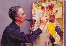 A Norman Rockwell self portrait.