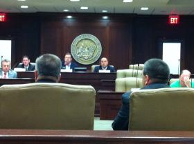 Members of the Arkansas Joint Judiciary Committee listen to testimony during Wednesday's hearing.