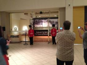 Actors posing as royal guards were on hand for the send off of the popular Rembrandt exhibit that closed Sunday evening at the Arkansas Arts Center.
