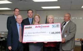 Members of Arkansas Lottery Commission Holding Check