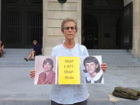 Barbara Dorris with Survivors Network of those Abused by Priests (SNAP) stands outside Pulaski County Courthouse.