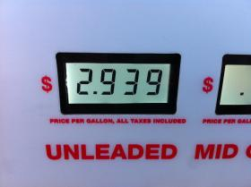 The price for regular unleaded Friday at a gas station in Conway.