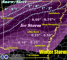 Expected ice accumulations levels for Arkansas.