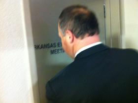 File photo of Lt. Gov. Mark Darr entering a conference room last month to speak to the Arkansas Ethics Commission.