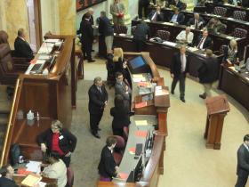 The floor of the Arkansas House of Representatives before votes were held last week.