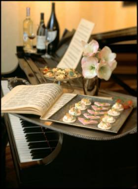 Canapés and sheet music