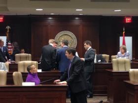 Senators Joyce Elliott (D-Little Rock) and Larry Teague (D-Nashville) talk before the Joint Budget meeting. Speaker Davy Carter (R-Cabot) and Johnathan Dismang (R-Beebe) confer in the background.