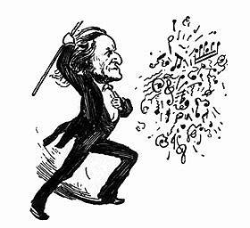 German composer Richard Wagner, seen in this caricature introducing various melodies into one of his many overtures.