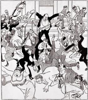 """Rite of Spring?"" More like ""Riot of Spring,"" as seen in this caricature of Igor Stravinsky from 1913."