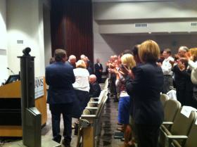 The crowd at Tuesday's announcement gives a standing ovation to Dr. Bart Barlogie.