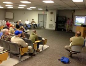 Volunteers at a recent Sky Warn meeting in Ozark, Arkansas.