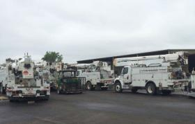 Entergy Arkansas crews prepare to assist with power restoration.
