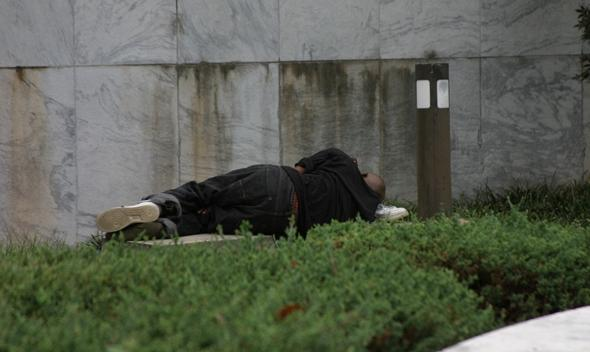 homeless man sleeping on grass