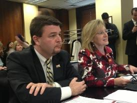 File photo. State. Senator Jason Rapert (R-Bigelow) with former State Representative Anne Clemmer testifying to a committee in 2013.