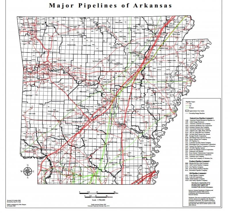 Major pipelines of Arkansas.