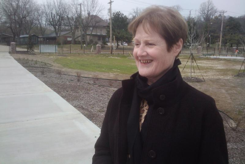 Cathy Cunningham reviews landscaping work at Freedom Park.