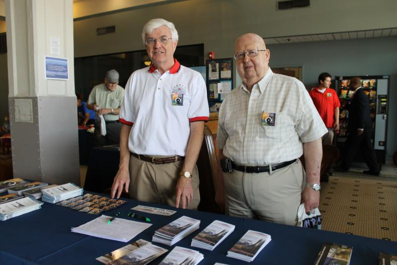 Bill Pollard, chairman of the Texas Eagle Marketing and Performance Organization, which promotes the line that runs through Arkansas, alongside William Eldridge, whose father was Train Master of the Little Rock station during World War II.