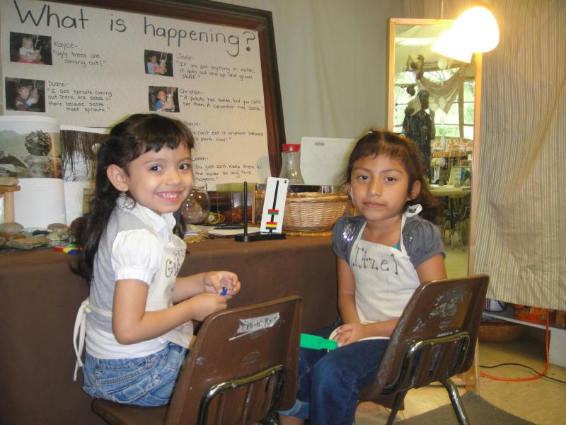 Giselle and Itzel helping each other