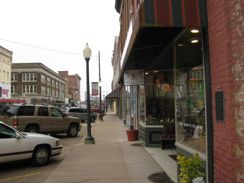 "Retail shops on Cherry Street, the ""Main Street"" of downtown Helena."