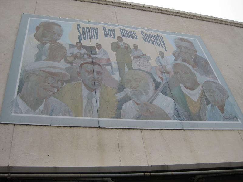 An old mural for the Sonny Boy Blues Society on a building in downtown Helena.