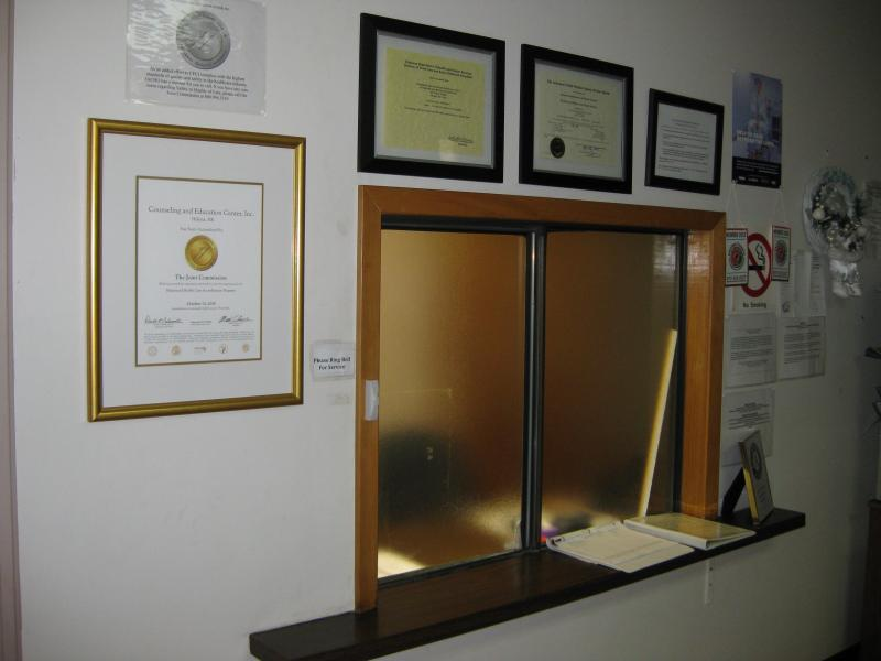 A service window inside the Family Center is the first stop for clients when they enter the building.