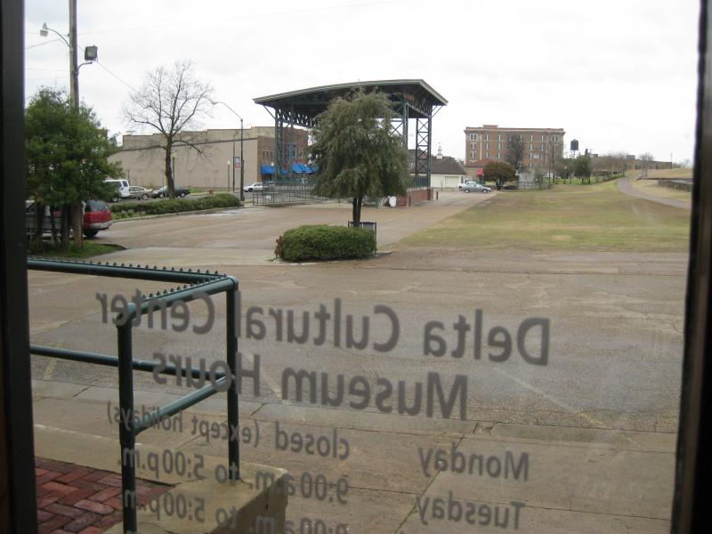 The view from the main door of the Delta Depot museum.