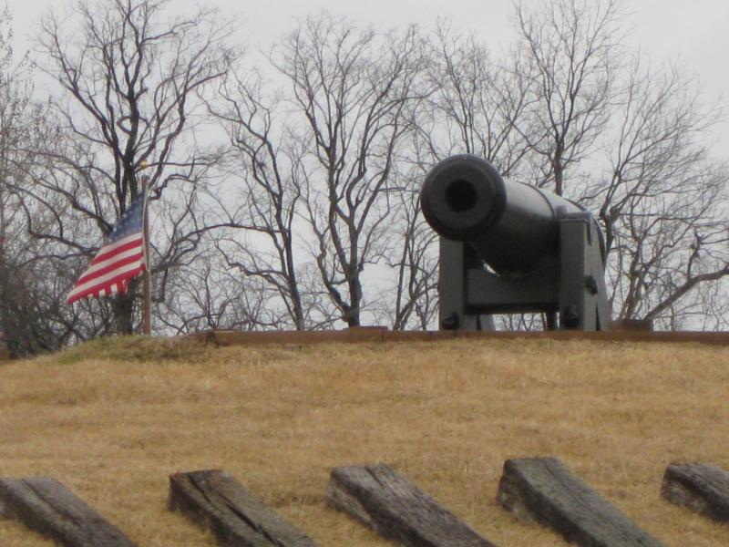 A cannon at the Fort Curtis historic site.