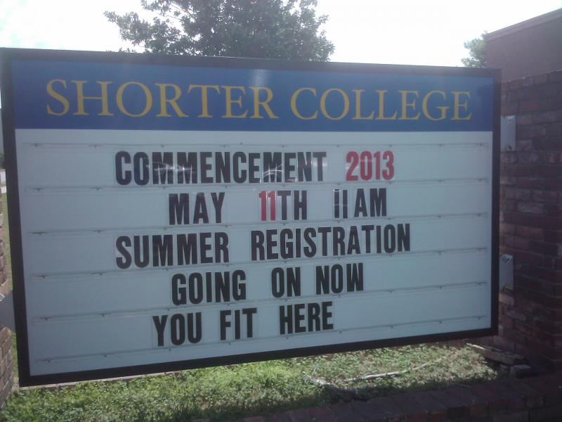 The marquee outside Shorter College's campus.