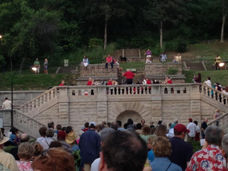 The Natural State Brass Band performs atop the Promenade in Downtown Hot Springs Saturday