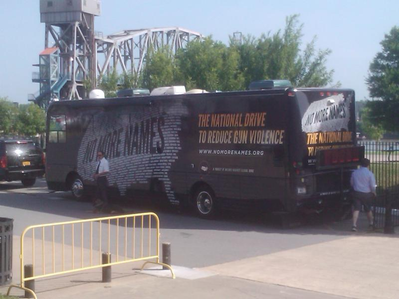 "A bus for the ""No More Names: National Drive to Reduce Gun Violence"" campaign arrives in Little Rock."