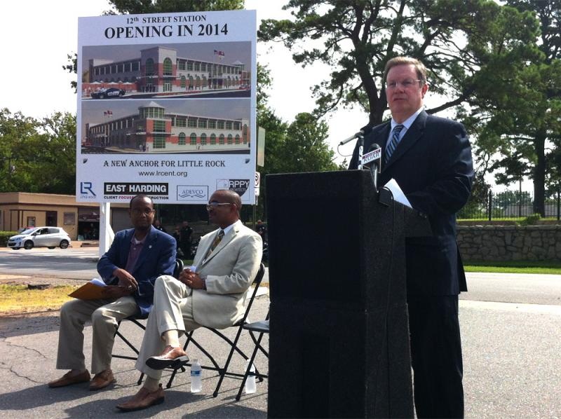 Little Rock Mayor Mark Stodola speaks at Tuesday's groundbreaking ceremony.