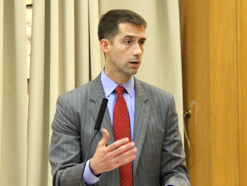 File photo: Then U.S. Representative Tom Cotton (R-4th District) at the Clinton School of Public Service (2013).