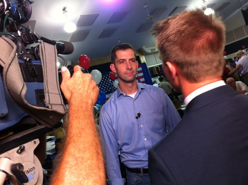 Rep. Tom Cotton during a TV interview after making his announcement for Senate in Dardanelle.