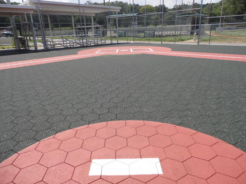The flat pitchers mound for the Miracle League park.