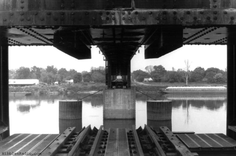 Looking out at the opening of the raised lift span in 1994.