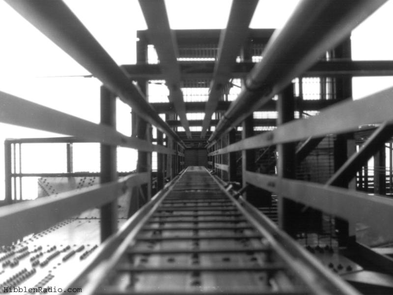 Looking up an internal ladder within one of the bridge's towers in 1994 that leads up to the left span.