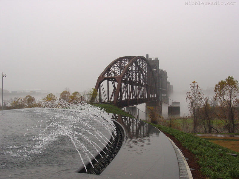 The bridge as seen from the fountain in front of the Clinton Presidential Center in 2004.